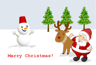 Snowman and Santa of Christmas Card