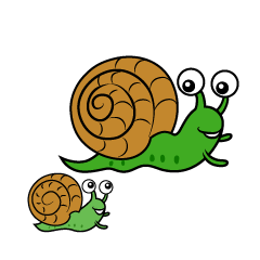Parent and Child Snail Clipart