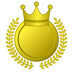 Gold Crown Leaf Lace Medal