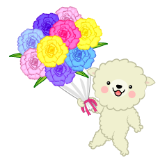 Sheep Give Bouquet Clipart