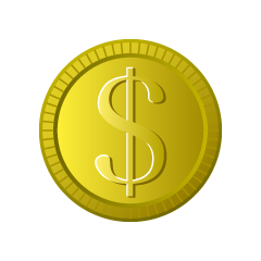 Gold Dollar Coin Clipart