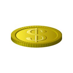 Single Dollar Coin Clipart