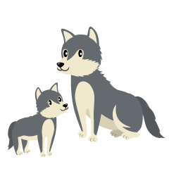 Wolf of Parent and Child Clipart