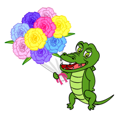 Crocodile Giving Bouquet Cartoon