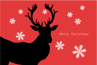 Reindeer Silhouette's red Christmas card