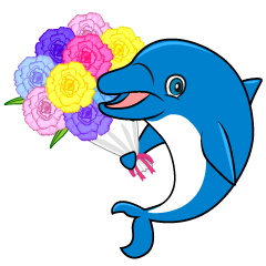 Dolphin Gives Bouquet Cartoon