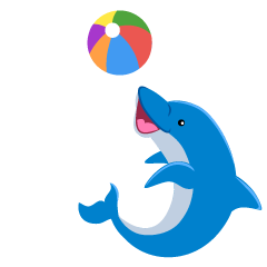 Dolphin Playing with Ball Clipart