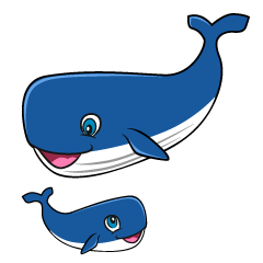 Parent and Child Whale Cartoon