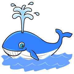 Smiling Blue Whale Cartoon