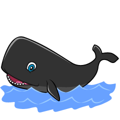 Smiling Black Whale Cartoon