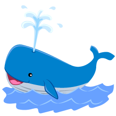 Cute Blue Whale in the Sea