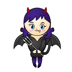 Cute Girl Devil Cartoon