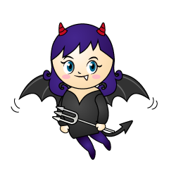 Flying Girl Devil Cartoon
