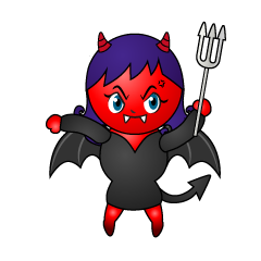 Angry Girl Devil Cartoon
