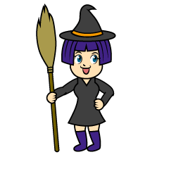 Witch with Spear Cartoon