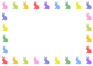Colorful Rabbit Silhouette Border