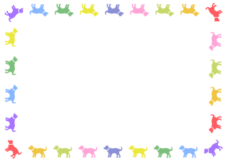 Colorful Dog Silhouettes Border