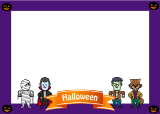 Halloween Monsters Border