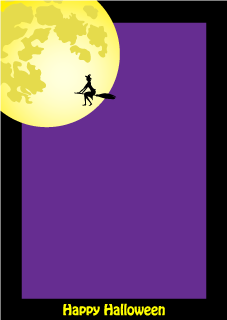Witch and Moon Portrait Border