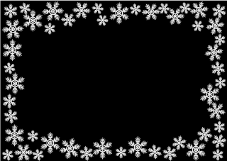 Snowflake Frame Black Background
