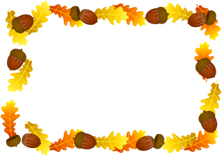 Acorns and Autumn Leaves Border