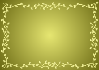 Vine Border on Golden Background