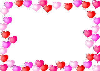 Many Heart Balloons Border