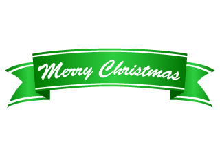 Merry Christmas Green Ribbon