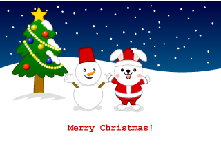 Cute Snowman and Bunny santa Christmas card