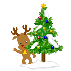 Christmas Tree and Reindeer Clipart