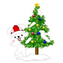 Christmas Tree and Rabbit Clipart