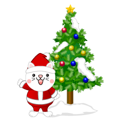 Christmas Tree and Cat Clipart