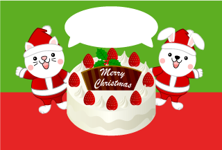 White cat and rabbit Santa character and cake