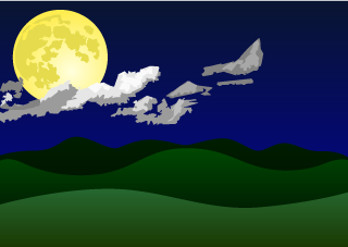 Moon and Mountains Background