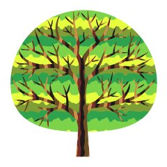 Cute Gradation Branch Tree Clipart