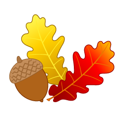 Acorn and Colored Leaves Clipart