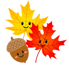 Cute Acorn and Maple Clipart