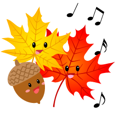 Singing Cute Acorn and Maple Clipart