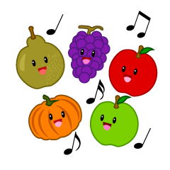 Singing Cute Autumn Fruit Clipart