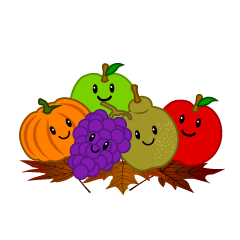 Fruits and Falling Leaves Clipart