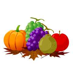 Many Fruits and Falling Leaves Clipart
