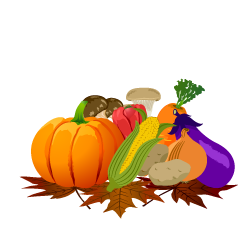 Many Vegetables and Fallen Leaves Clipart