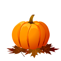 Pumpkin and Fallen Leaves Clipart