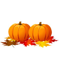 Pumpkins and Autumn Leaves Clipart
