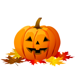 Halloween Pumpkin and Autumn Leaves Clipart