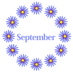 Blue Flower Wreath September Clipart
