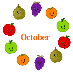 Cute Fruits Wreath October Clipart