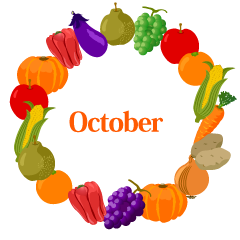 Vegetables and Fruits Wreath October Clipart