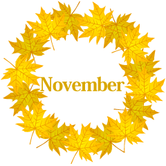 Yellow Maple Wreath November Clipart