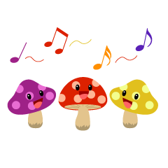 Singing Mushrooms Clipart